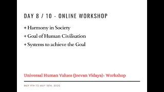 Day8 - Universal Human Values / Jeevan Vidya Online Workshop - Suman Yelati