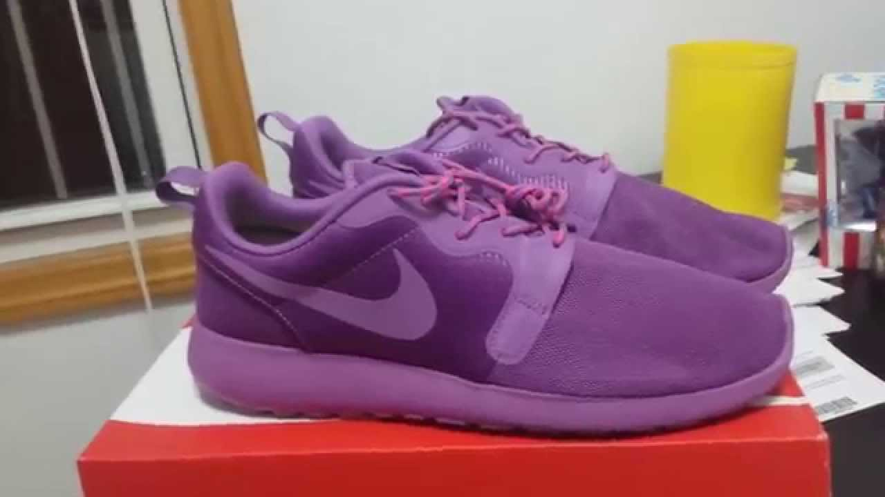 huge selection of d2224 f45b8 ... Nike Roshe Run Hyperfuse Volt Purple Violet Shade NM Rosherun WMNS  Laser Crimson - YouTube ...