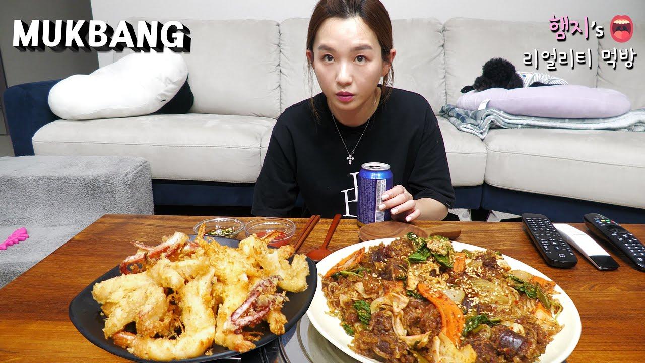 리얼먹방:) 매콤 순대볶음★새우튀김,오징어튀김 (ft.쉐프그릴,맥주)ㅣSundae bokkeum & Fried Shrimp, SquidㅣREAL SOUNDㅣASMR MUKBANGㅣ