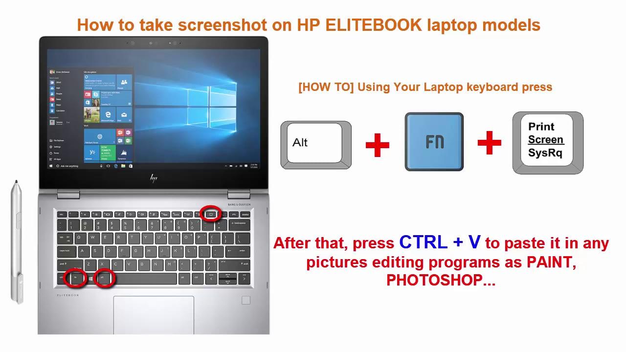 How To Take Screenshot On Hp Elitebook Laptop Models Tutorial 2020 Youtube