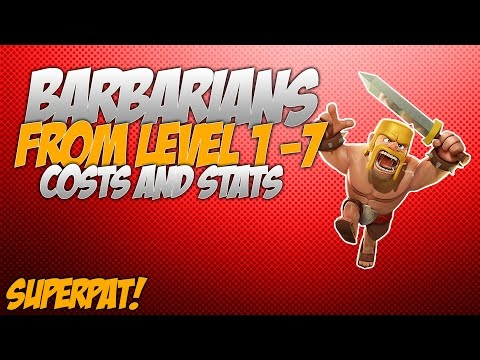 Clash of Clans - Barbarians from level 1-7 (Costs and Stats)