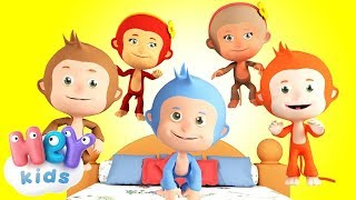 5 Little Monkeys 🙈 Learn numbers and letters for toddlers - HeyKids