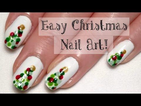 Easy Christmas Nail Art Tutorial With A Bobby Pin Cute Tree Nails