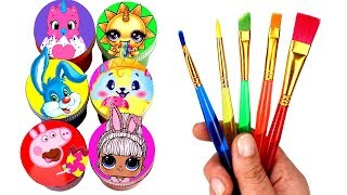 Happy Easter Drawing & Painting with Surprise Toys Pikmi Flips Peppa Pig Poopsie Slime LOL Surprise