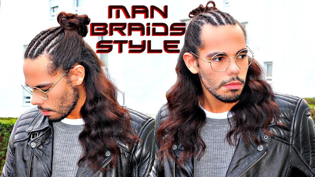 Man Braids Hair Trend 2018 Hairstyle For Men With Long Hair Tutorial