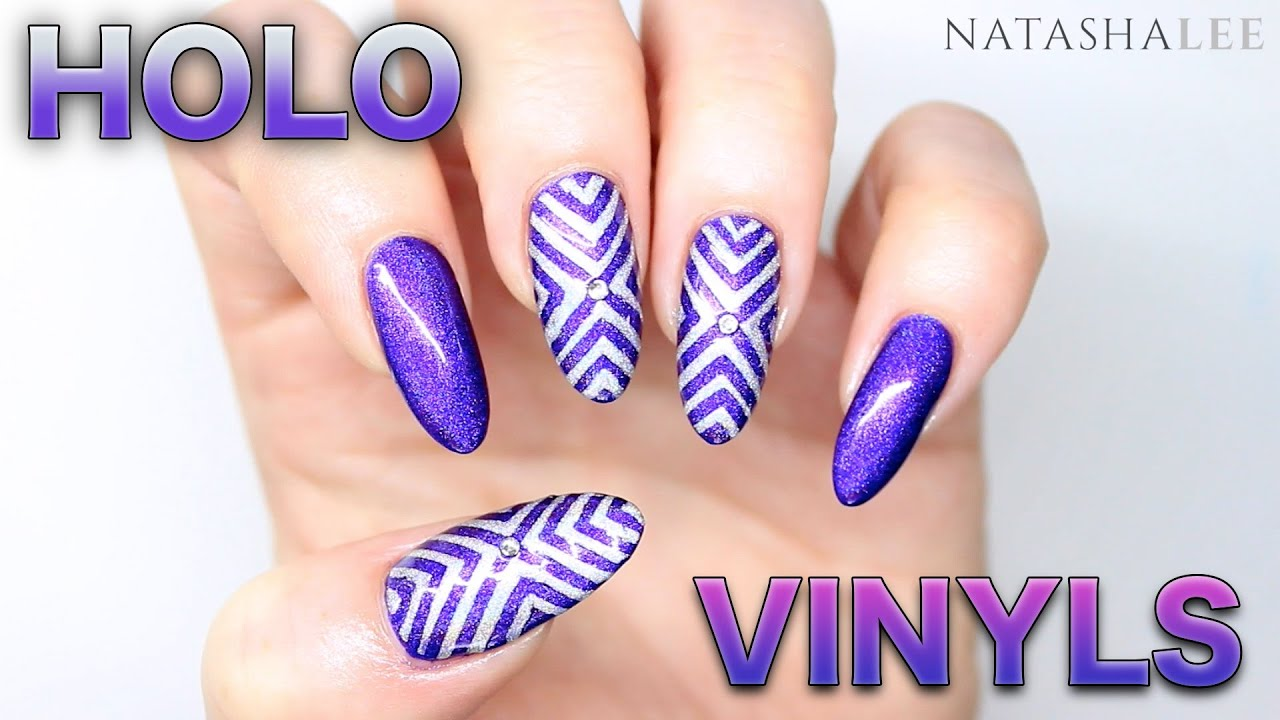 HOLO STENCIL NAIL ART | PURPLE | SILVER | HOLOGRAPHIC | CRYSTALS ...