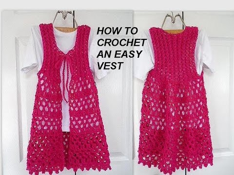 Crochet Vest Long Lacy Openwork Pink Vest Easy Vest Clothing