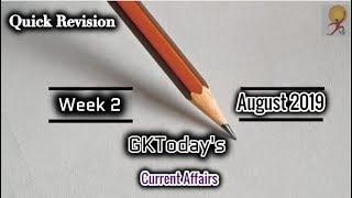 August 2019 Week 2(08-15 August) Current Affairs[English]