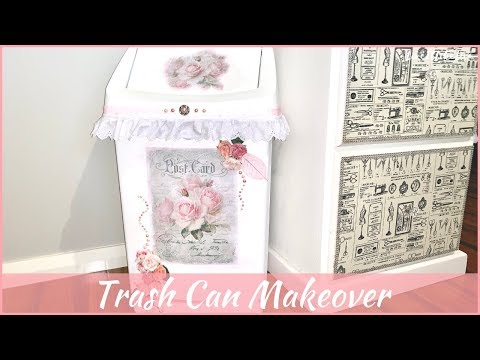 DIY Trash Can Makeover   Shabby Chic