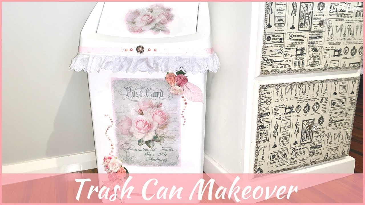 Shabby Chic Waste Baskets Diy Trash Can Makeover Shabby Chic