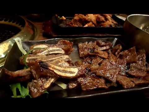 Eating at Sariwon Korean Barbeque Restaurant