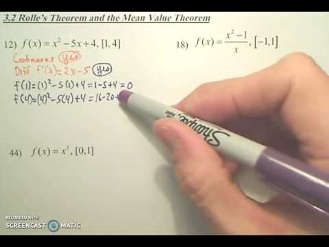Rolles Theorem Example - YouTube