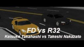 FD Vs R32 (Keisuke Takahashi vs Takeshi Nakazato) | Roblox Initial D Remake #6