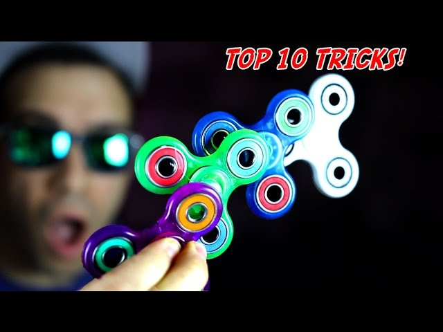 Top 10 ADVANCED FIDGET SPINNER TRICKS (Amazing Pro Stunts with Spinners EDC) + GIVEAWAY!