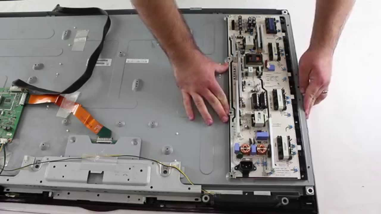Samsung Lcd Tv Repair How To Remove Install Backlight Inverter Series Of Lights With A Switch On Side Away From Power Supply Board Lips Youtube