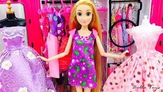 💜BARBIE DOLL PRINCESS RAPUNZEL💜DOLL HOUSE BEDROOM MORNING ROUTINE💜KITCHEN FASHION DRESSES Video