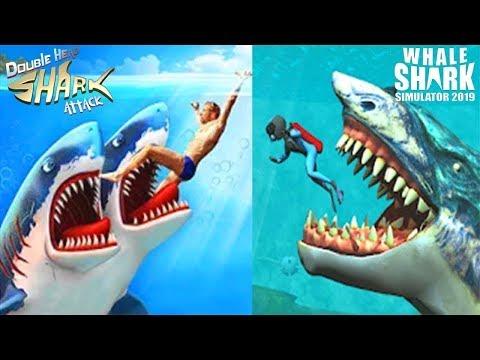 Double Head Shark Attack - Multiplayer VS Whale Shark Attack Simulator 2019  - All Sharks Unlocked