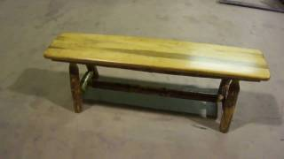 Amish Made Glacier Country Log Furniture Plank Bench By Montana Woodworks