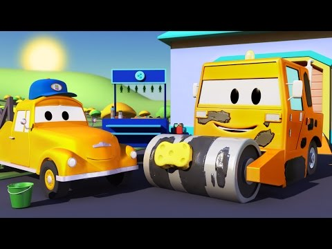 TOM the TOW TRUCK'S CAR WASH and STEVE the STEAMROLLER | TRUCK CARTOONS for KIDS
