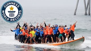 Most people riding a surfboard - Guinness World Records