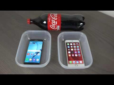 Crash test Samsung Galaxy S7 Edge vs. iPhone 6S Plus Coca-Cola Freeze Test 9 Hours!