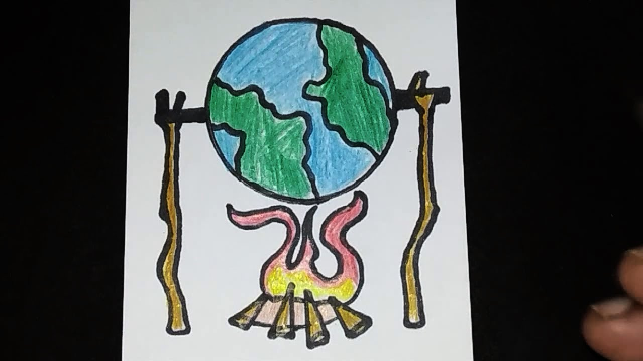 drawing poster of global