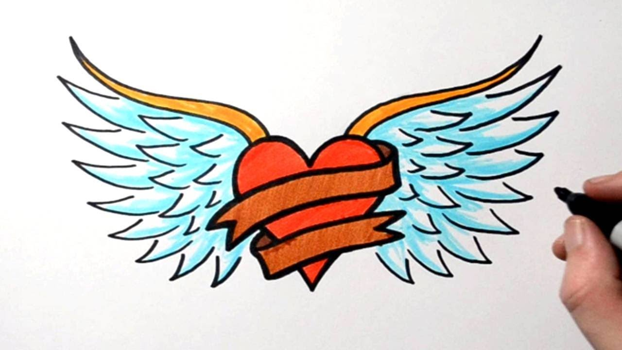 How To Draw A Heart Banner Wings Tattoo Design Drawing Youtube It's your honor to use their body as your canvas. how to draw a heart banner wings tattoo design drawing