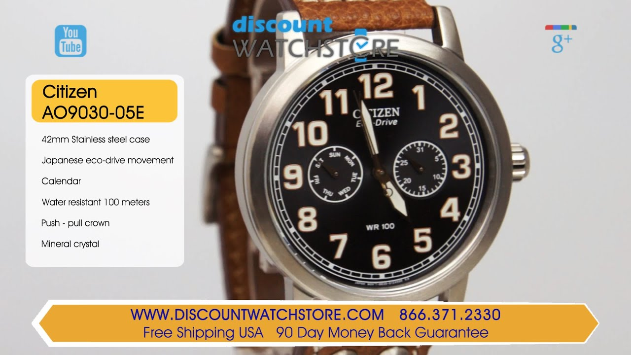 43a767f1b50 Citizen AO9030-05E Men s Avion Eco-Drive Black Dial Brown Leather Strap  Watch Review Video