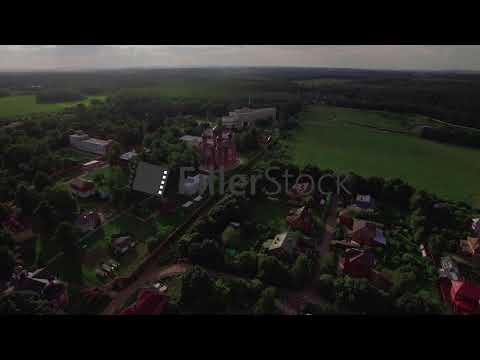 Flying over Lukino Village with Ascension Cathedral, Russia