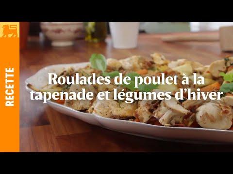 Roulades de poulet à la tapenade et légumes d'hiver rôtis