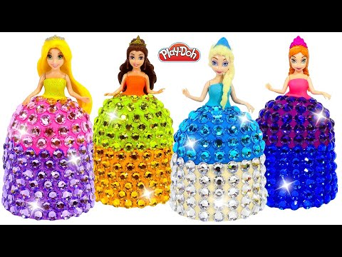 DIY How to Make Super Sparkle Dresses out of Play-Doh for Disney Princesses