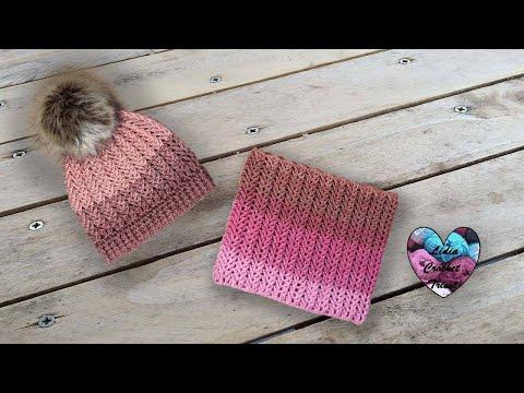 Ensemble Bonnet Snood Crochet Rosa