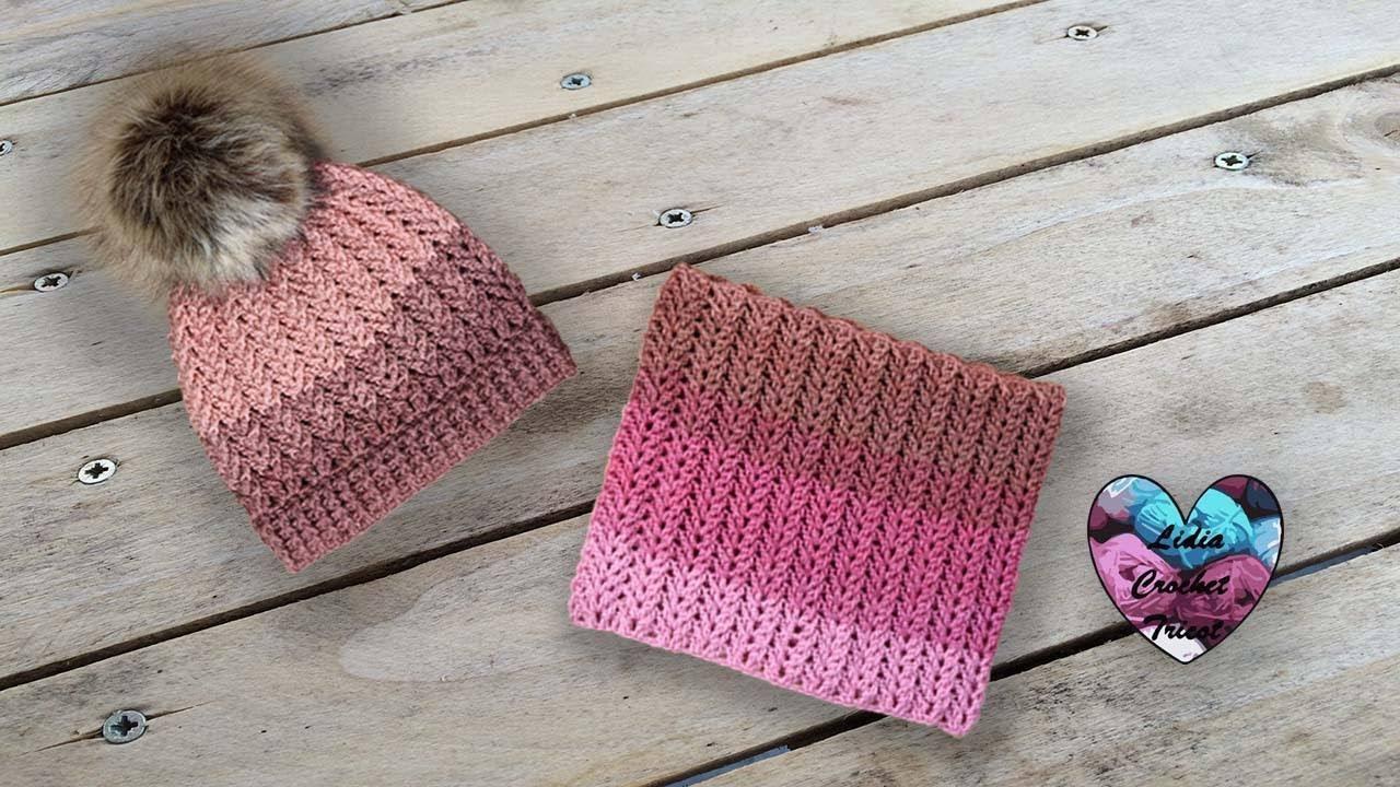 26b0f0bdbca97 Ensemble Bonnet Snood Crochet Rosa