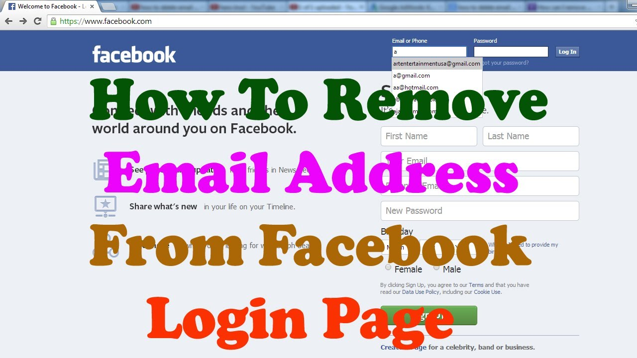 How To Delete Email Id From Facebook Login Page Youtube