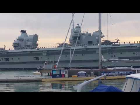 £3bn WarShip HMS Queen Elizabeth arrives in Portsmouth