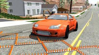 Massive Spike Strip Pileup Crashes #42 – BeamNG Drive | CrashBoomPunk