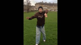 Will dances popping in front of Royal Crescent in Bath