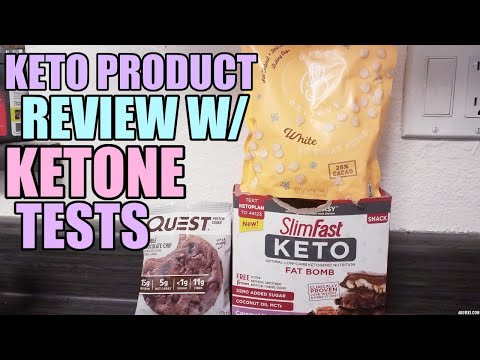 KETO PRODUCT REVIEW W/KETONE TESTS! QUEST COOKIE, SLIM FAST CARAMEL CLUSTERS, BAKE BELIEVE