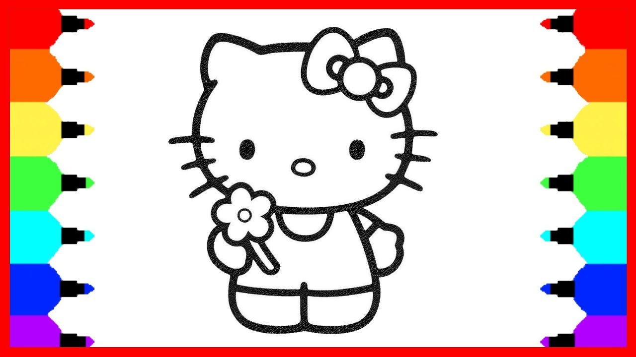 HELLO KITTY Coloring Pages  How to Draw Hello Kitty  Youtube Videos for  Children