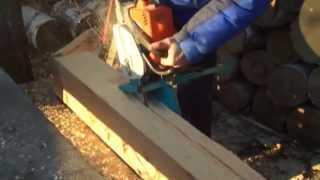 Приспособление для бензопилы для продольного распила древесины.