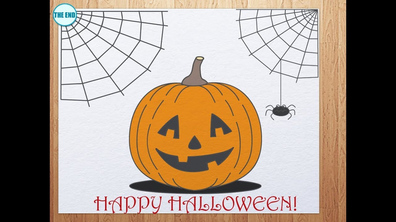 Draw this shape first, and then add details. Happy Halloween Drawving Tutorial Pumpkin Drawing Easy Halloween Drawings Easy Drawings