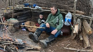 Survival Camping With 3 Yr Old   Building Survival Shelter With Shovel