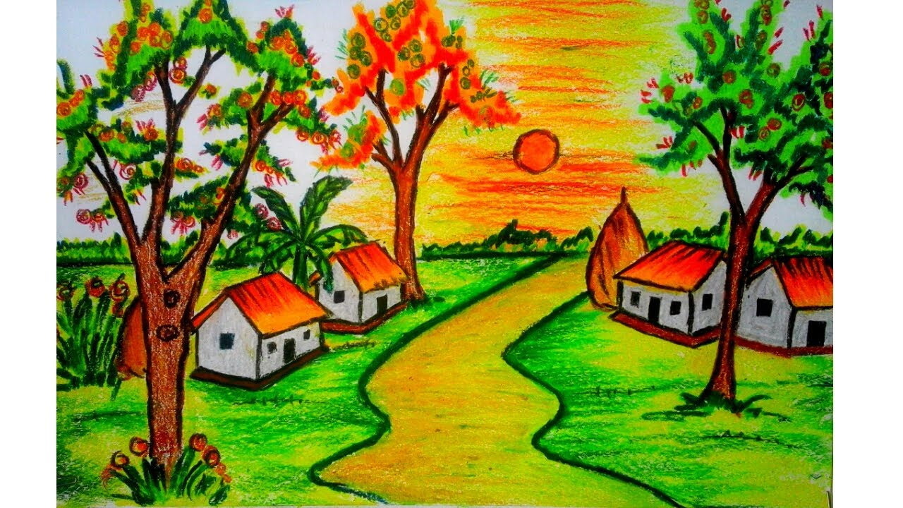 how to draw a scenery drawing of colourful village with pastel colour
