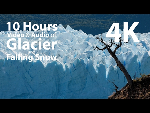 4K UHD 10 hours - Glacier & Falling Snow window - relaxation, meditation, nature