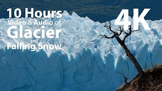 4k uhd 10 hours glacier falling snow window relaxation meditation nature