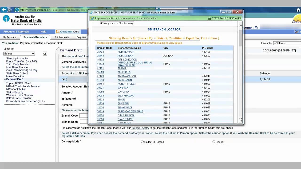 In How To Request Demand Draft Online From State Bank Of India Youtube