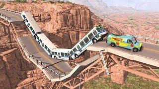 Collapsing Bridge Pileup Car Crashes #27 - BeamNG DRIVE | SmashChan