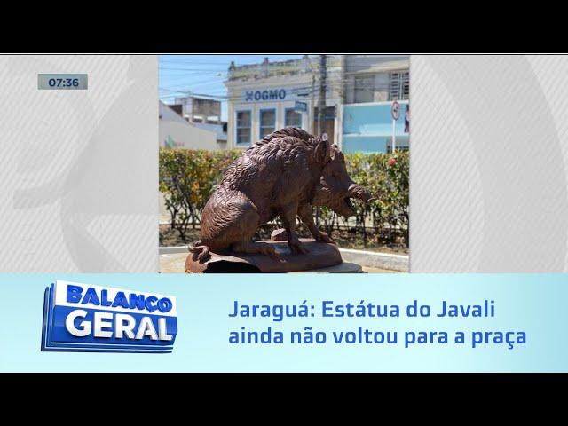 Jaraguá: Estátua do Javali ainda não voltou para a praça por falta de aprovação no orçamento