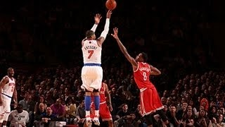 Repeat youtube video Carmelo's AMAZING 3-game shooting clinic ties Knicks record!