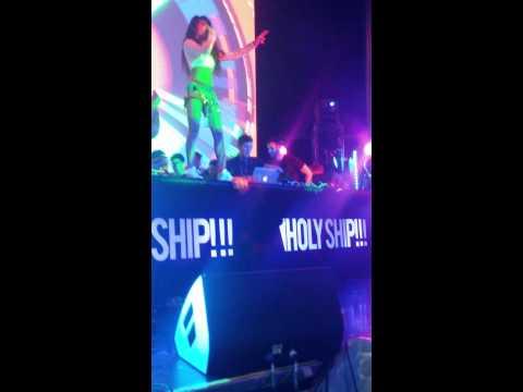 Diplo's dancer twerkcidently spills her vodka on Dillon Francis' laptop